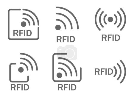 Monochrome set of icons rfid.