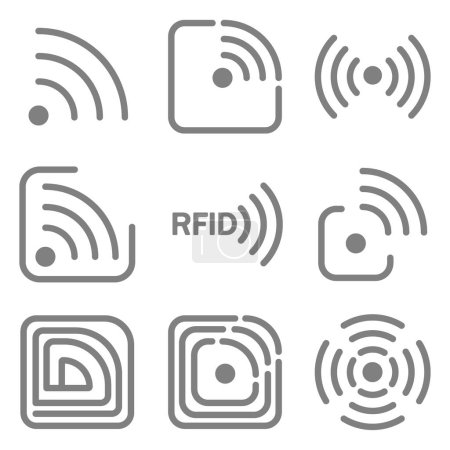 Set of icons with different variations of rfid image