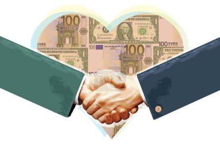 Photo pour Illustration, poignées de main devant des billets en forme de cœur, règles financières - image libre de droit