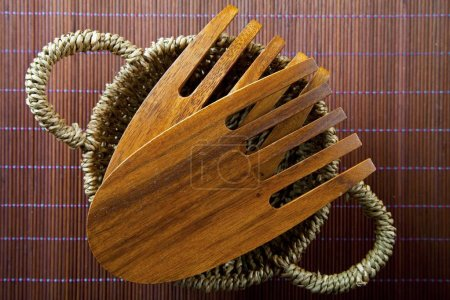 Photo for Wooden salad servers close up view - Royalty Free Image