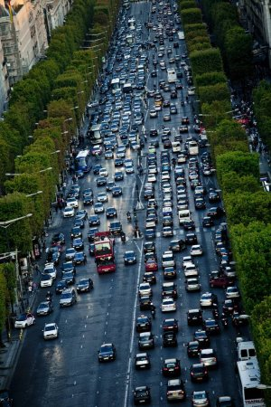 Champs Elysees road with cars, Paris France, Europe