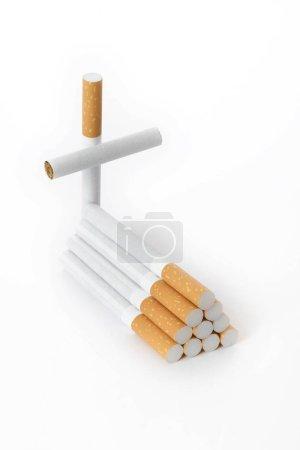 Grave made of cigarettes, symbolic image, smoking ...