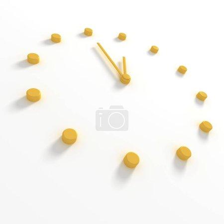 Photo pour Cadran jaune et aiguilles d'une horloge, aiguilles à onze cinquante-cinq - image libre de droit