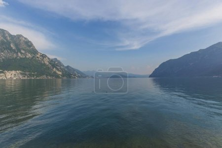 lake with mountains and islands in, italy