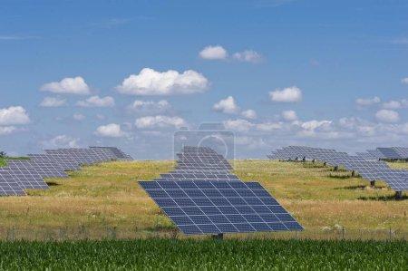 Foto de Complejo fotovoltaico, Módulos solares en pradera, Central solar, Envejecimiento, Palatinado Superior, Baviera, Alemania, Europa. - Imagen libre de derechos
