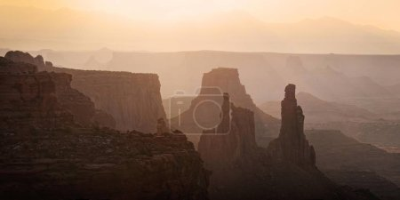 Rocks in the morning light, La Sal Mountains at the rear, Canyonlands National Park, near Moab, Utah, United States, North America