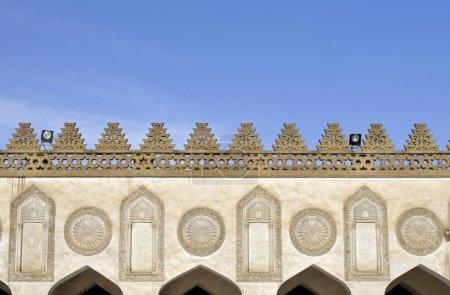 geschmückte Fassade, Innenhof der Moschee von al-azhar, islamisches Kairo, Ägypten, Nordafrika, Afrika