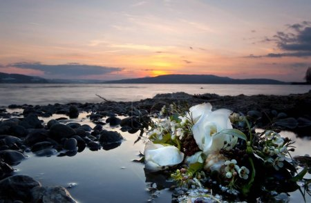 Thrown away bridal bouquet in the effluent of Lake Constance, Reichenau Island, Baden-Wuerttemberg, Germany, Europe