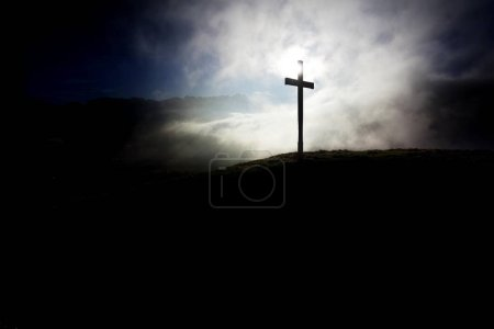 Summit cross of Gerenberg Mountain with high fog in front of the mountains, Gerenberg, Appenzell, Switzerland, Europe