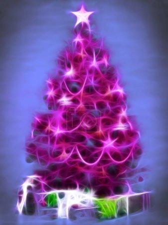 Photo pour Arbre de Noël rose avec cadeaux - image libre de droit