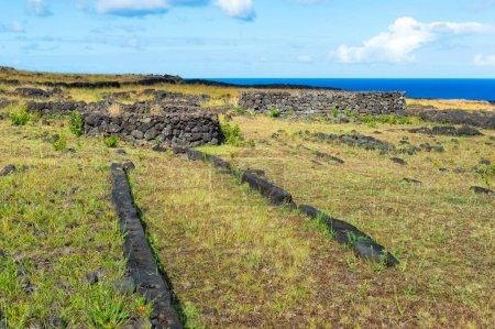 Foundations of elliptical houses, Ahu Tepeu, Rapa Nui National Park, Unesco World Heritage Site, Easter Island, Chile, South America