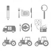 Grey icons set on white background