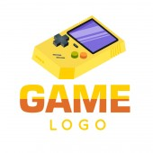 Gamer Logo Yellow Game Boy Background Vector Image