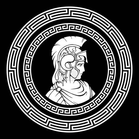 Greek round antique pattern. Alexander the Great Macedonian.