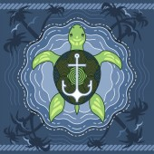 Marine turtle with anchor on blue water background