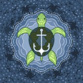 Marine turtle with anchor on blue island water background