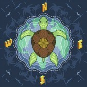 Marine turtle inside the compass on blue mosaic island water background