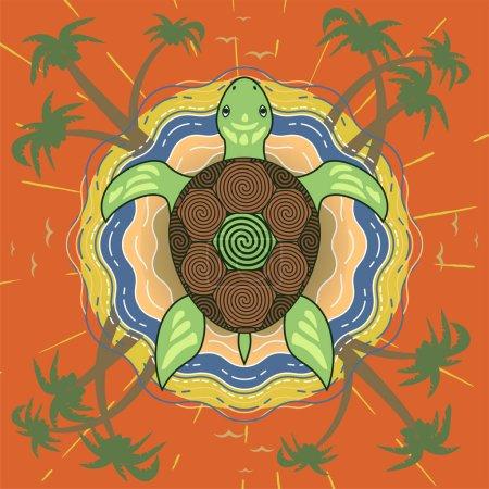 Marine tropical island turtle on the beach backgro...