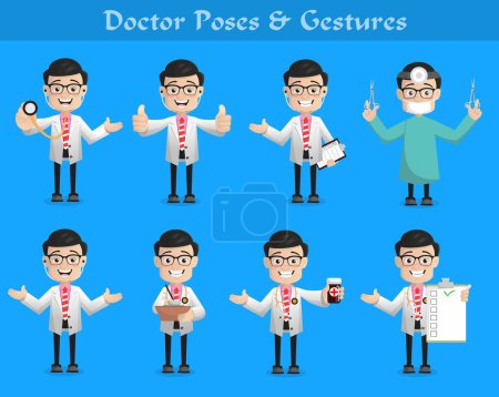 Cartoon Doctor Poses, Expressions and Gestures Set