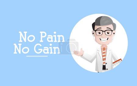 Cartoon Doctor Showing No Pain No Gain Message Vector