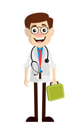 Smiling Doctor Standing Pose Vector