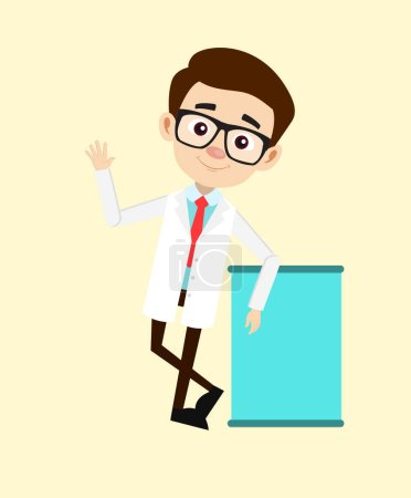 Young Gastroenterologist Doctor Hello Gesture with Blank Banner Vector