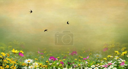 Photo for Green background with flowers and swallows - Royalty Free Image