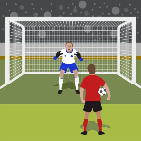 Penalty kick concept, soccer football championship vector background.