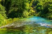 Turquoise spring Blue Eye - Syri i Kalter, near a town of Muzine, Albania.