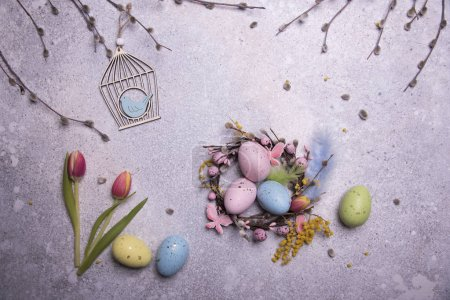 easter eggs and grey background holiday decor