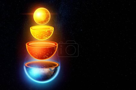 Photo for The internal structure of the earth, the structure of the core, geological layers on a dark background of space. Concept geology of the earth, magma, lithospheric shifts. 3D illustration, 3D render - Royalty Free Image