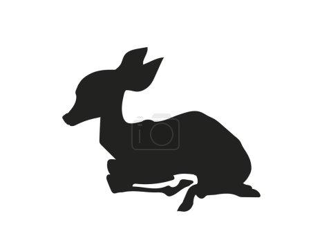 bébé cerf couché, silhouette, vecteur, fond blanc