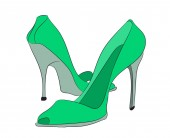 colored shoes vector white background