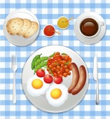 A Set of British Breakfast illustration