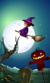 A witch riding bloom at night illustration