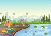 Yoga training at the park illustration