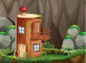 Log house in nature illustration