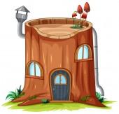 A log house on white background illustration