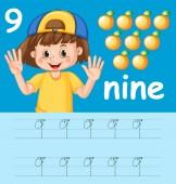 Number nine tracing worksheets illustration