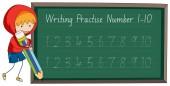 Write practise number to ten illustration