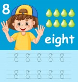 Number eight tracing worksheets illustration