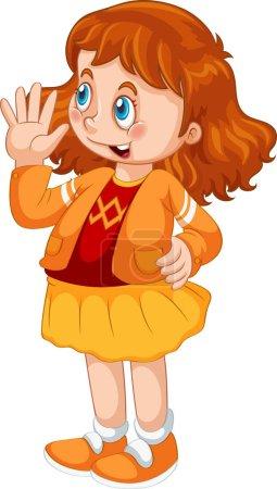 Illustration pour Adorable fille sur fond blanc isolé illustration - image libre de droit