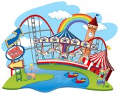 Background design with rides at themepark