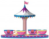 Circus ride with pink teacups