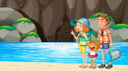 Illustration for Family at beach scene illustration - Royalty Free Image