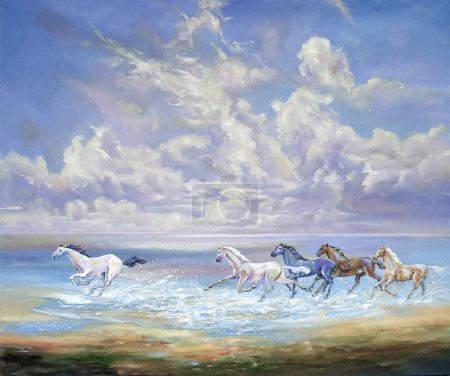 Running horses on the coast. Author: Nikolay Sivenkov.