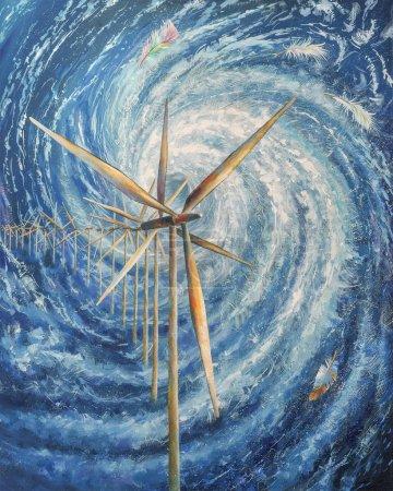 Photo pour Concept : Le vent fait tourner les pales du moulin à vent qui actionnent l'arbre de turbine connecté au générateur électrique. L'énergie éolienne est l'énergie cinétique de l'air en mouvement . - image libre de droit