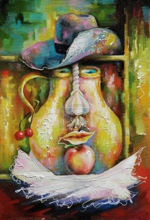 Photo pour Nature morte rustique est terminée sous la forme d'un visage. Techniques décoratives et texturées sur toile. Peinture : toile, huile . - image libre de droit