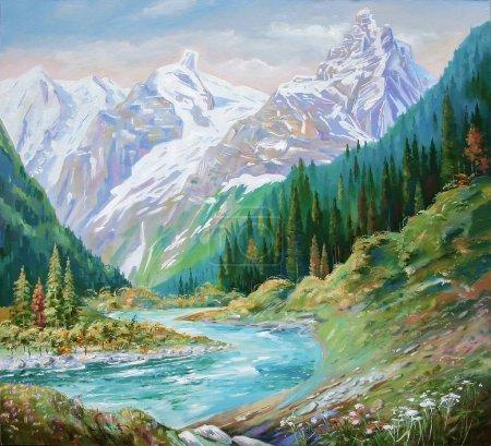 Photo pour La rivière Teberda dans les gorges du Caucase. Peinture : toile, huile . - image libre de droit