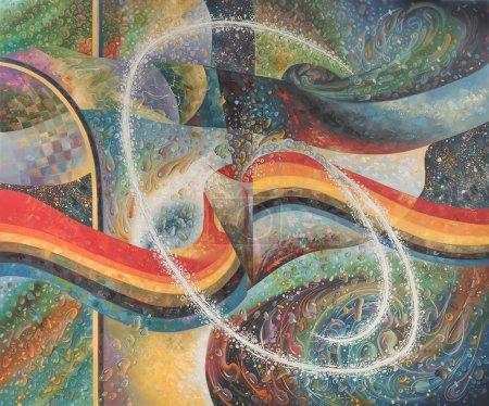 Photo pour La peinture abstraite est tirée de gouttes d'eau sur le thème : Énergie de l'eau. Peinture : toile, huile. Concept : L'eau est la source de vie, l'eau génère diverses énergies contiguës utiles aux humains comme l'électricité et ainsi de suite  ... - image libre de droit